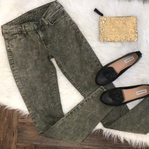 """7 For All Mankind """"the Skinny"""" in Acid Wash Green"""